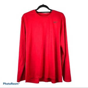 Nike Dri-Fit Long Sleeve work out shirt. Red. XL